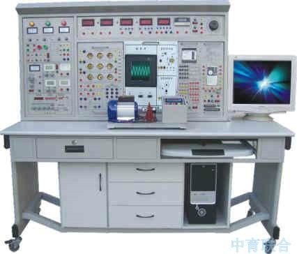 ZY-800D高性能电工电子电拖及自动化技术实训与考核装置 一、概述: 本装置是我公司吸取国内外同类产品合理的实训方法,先进、科学的实训手段并加以消化、整合、提高而研制的针对高等院校、职业技术教育而开发的综合性实训考核装置。其适用各类职业院校、中专、技校电工、电子、电拖、机电一体化、自动化等专业的教学和从事相关专业的技术人员实训考核。装置有机地融合了电工、电子、电力拖动、PLC、变频器等实训内容,配备多块可自由组合的实训挂箱,实现了教学资源共享,一机多用;创造性地把教学管理、教材、教案、实训、认证、考核融