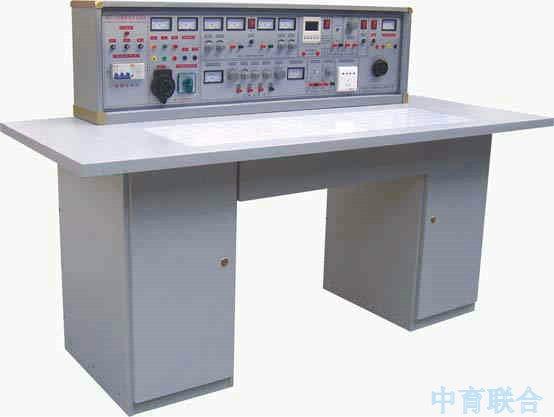 四、实验台主要技术指标: 1、输入工作电源:三相四线 2、输出电源及信号 A单元:三相四线 B单元:交流3、6、9、12、15、18、24V C单元:双路恒流稳压电源(具有过载及短路保护功能),二路输出电压都为0~30V,内置式继电器自动换档,由多圈电位器连续调节,使用方便,输出最大电流为2A,具有预 设式限流保护功能。 电压稳定度:<10-2 负载稳定度:<10-2 纹波电压:<5mv D单元:直流稳压5V,电流0.