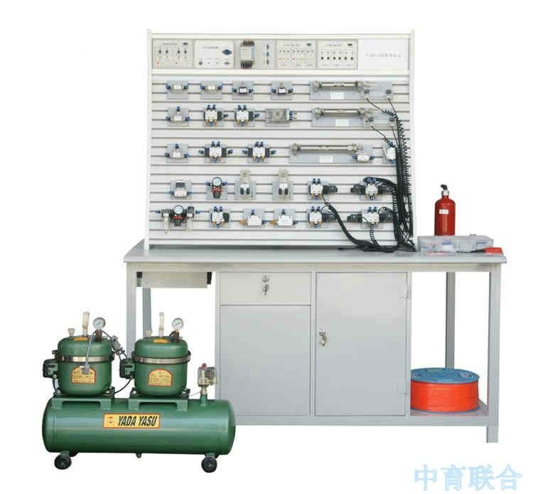 ZYQPC-T铝槽式铁桌气动PLC控制实验台 一.概述:气动PLC控制实验台是根据《液压与气压传动》、《气动控制技术》等通用教材内容要求,参考广大师生的建议,精心设计而成。该系统除了可以进行常规的气动基本控制回路实验外,还可进行模拟气动控制技术应用实验、气动技术课程设计,以及可编程序控制器 (PLC)学习及其基本应用实验等,是机电完美结合的典型实验设备。 该系统适应于大中专院校、技校、职业学校中的机械工程、机电一体化、自动化专业开设《液压与气压传动》、《气动控制技术》、《 PLC可编程序控制器原理及应